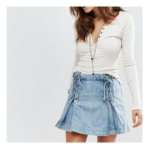 Free People Light Blue Denim Lace Up Mini Skirt
